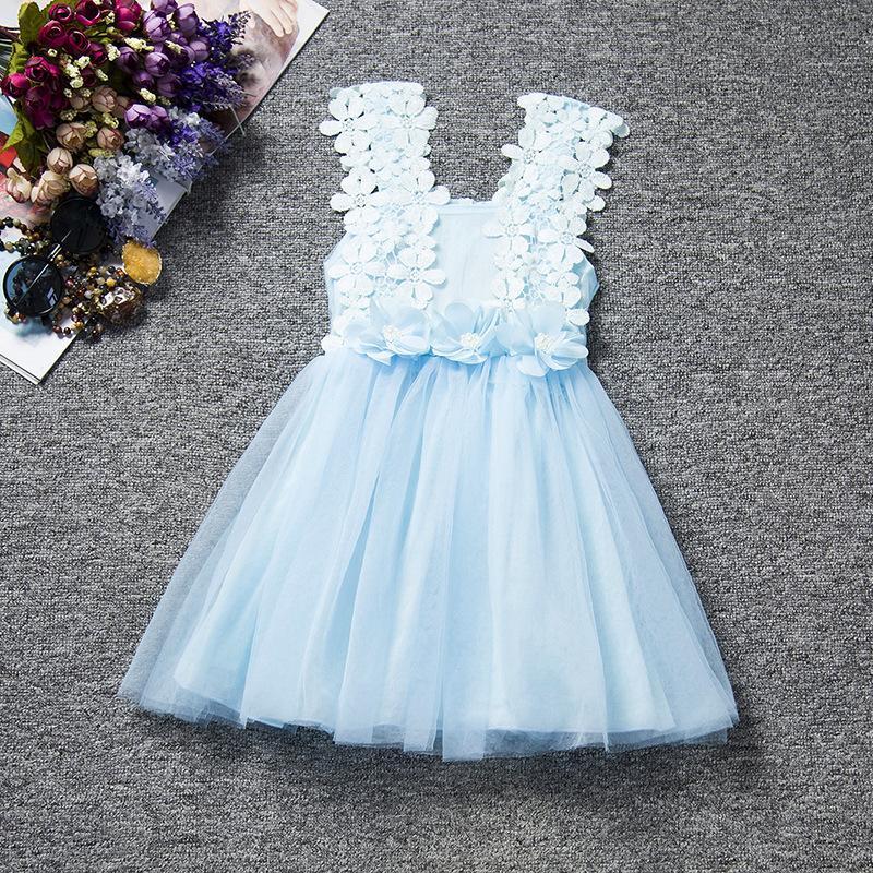 Summer Girls Dress Baby Koronki Kwiat Fancy Spódnice Dzieci Mesh Tutu Spódnica Dzieci Piękne sukienki 6 Kolory do wyboru