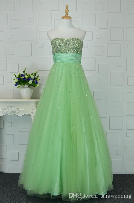 892fe3b9d98 Beaded Strapless Tulle A Line Prom Dress Light Green 2017 Elegant Prom Gowns  New Quinceanera Dress Cheap Modest Prom Dresses Cheap Plus Size Prom Dresses  ...