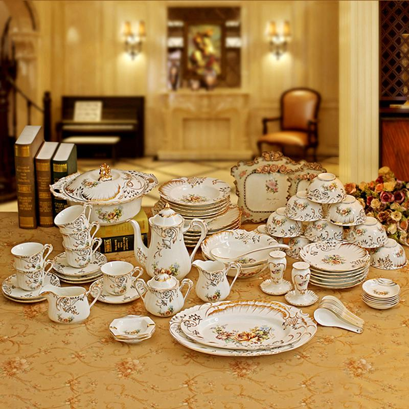 Porcelain Dinnerware Set Bone China Flower Design Embossed Outline In Gold Dinnerware Sets Coffee Sets Wedding Gifts White Dinnerware Sets Clearance White ... & Porcelain Dinnerware Set Bone China Flower Design Embossed Outline ...