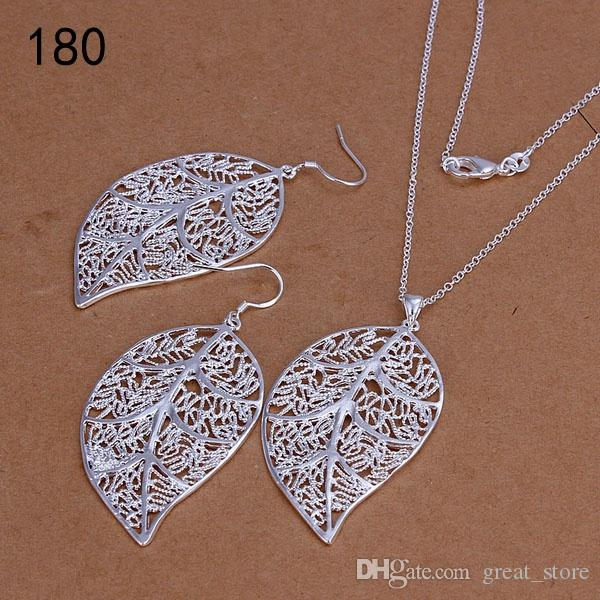 top women's sterling silver plated jewelry set same price mix style,hot sale fashion 925 silver Necklace Earring jewelry set GTS35a