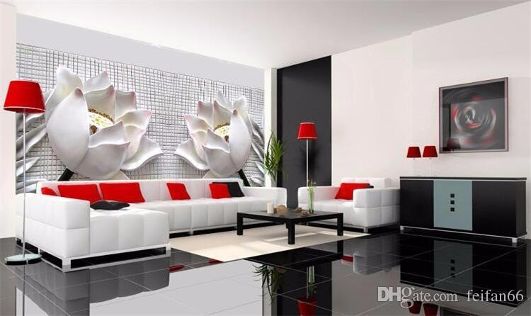 Fotoğraf kağıdı Sanat lotus modern minimalist oturma odası TV duvar kağıdı kabartmalı zemin duvar kağıdı duvar boyama modern