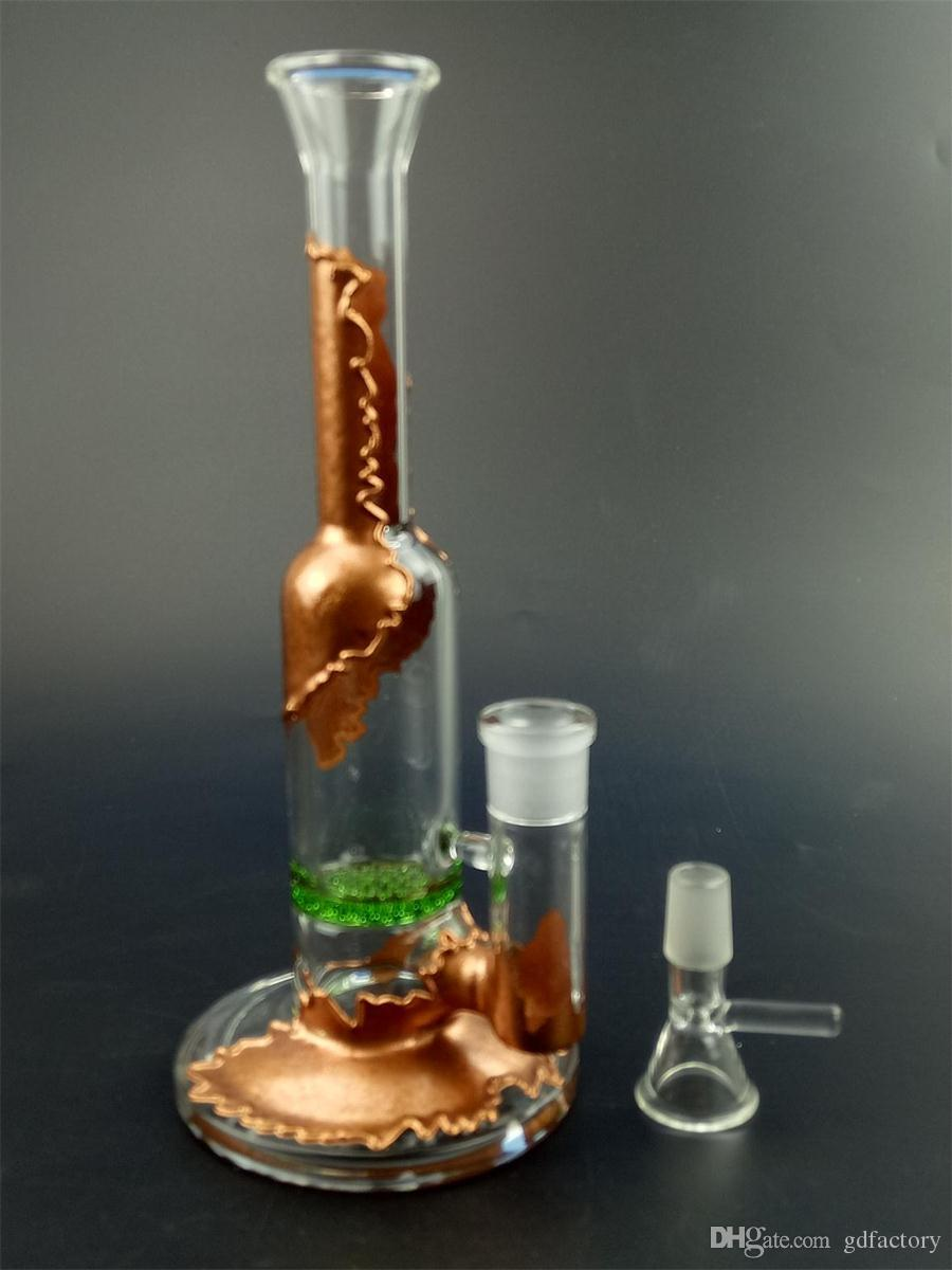 Amazing Glass Pipe Water Smoking Pipe Perc Honeycomb Disk Pipe Bong With 5 Arm Tree Perc Vase 25cm Height 052