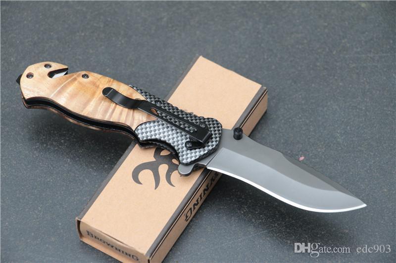 Frete grátis Browning X50 Tático Lâmina de Bolso Faca de Aço Lâmina De Aço Handle Titanium Survival Knives Caça Pesca Ferramenta EDC Com caixa