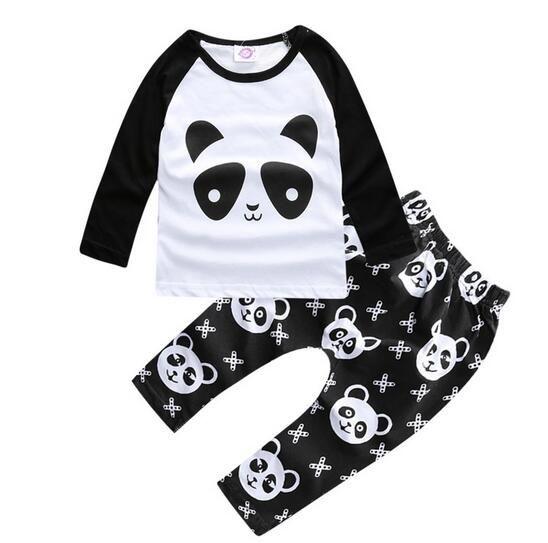2781ea1d7 2016 Hot sale baby boy clothes set unisex cartoon panda long-sleeved T-shirt +pants 2pcs Infant clothing set