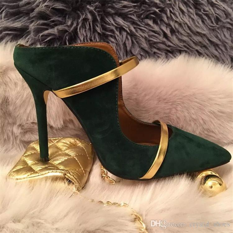 Neue Mode Damen Kleid Party Schuhe Schwarz Hochhackige Pumps Flach Leder Mules Spitz Toe Slip-on Schuhe Party Schuhe Frau