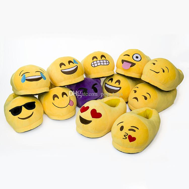 Emoji Novelty Slippers Emoji Smile Facial Soft QQ Expression Poop Home Fall Winter Plush Shoe Kid Women Men Embroidery Cotton Christmas Gift
