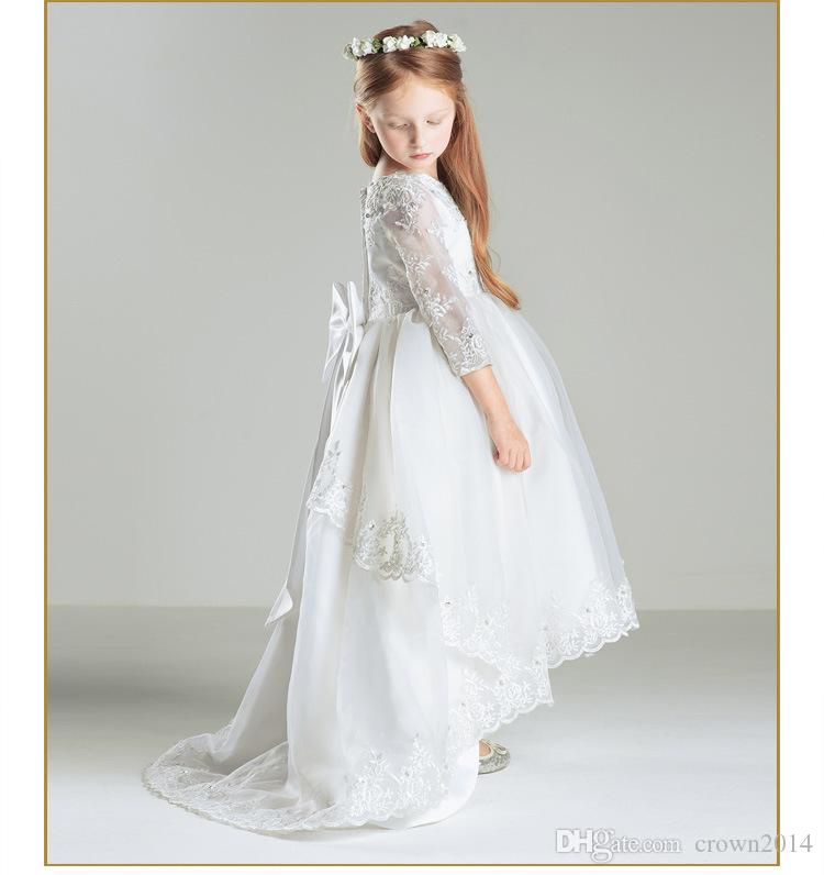 2020 High Low Lace Flower Girl Dresses 3/4 Long Sleeves Beaded First Communion Vintage Little Girls Pageant Dresses With Bow Children Cheap