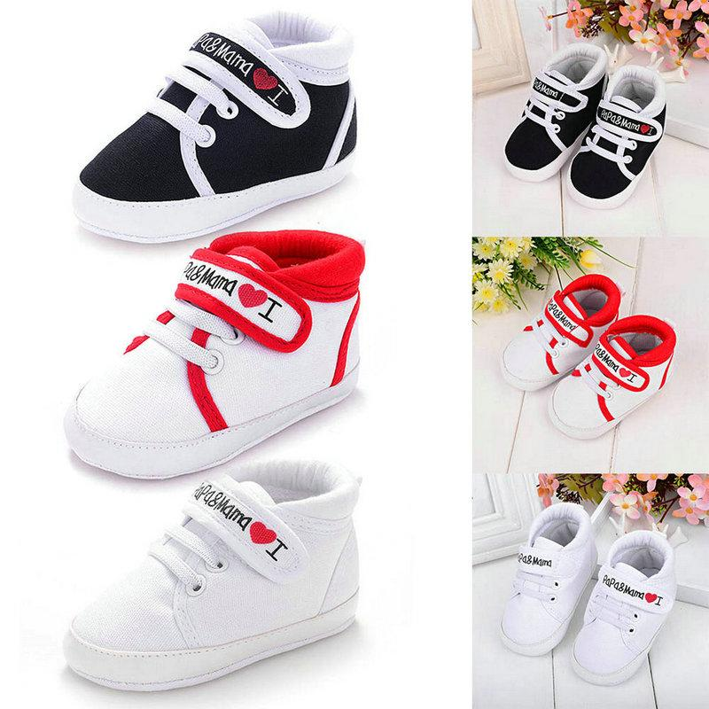 2cf6171ca092 2019 Wholesale Baby Infant Shoes Kids Boy Girl Soft Sole Canvas Sneaker Toddler  Newborn Shoes Cute Heart Shaped I Love Mum And Dad Lovely From Redeye