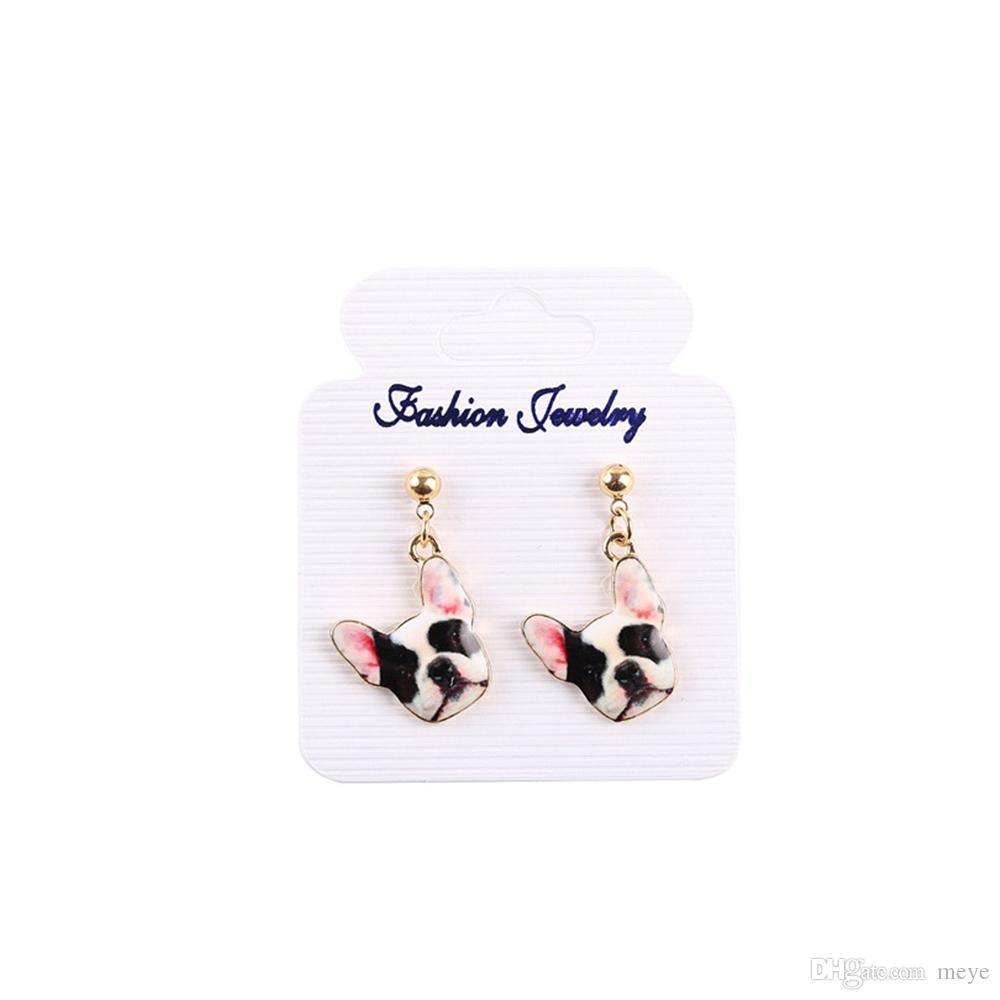 New Fashion Designed Puppy 3d Dog Head Stud Earrings Beautiful Enamel Oil Dog Earrings for Girls Gift jl-351