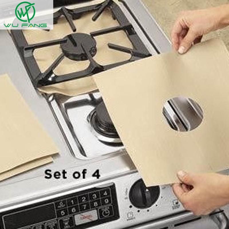 Wholesale- Stovetop Reusable Aluminum Foil Gas Stove Protectors Cover/Liner Reusable Non Stick Silicone Dishwasher Safe kitchen supplies