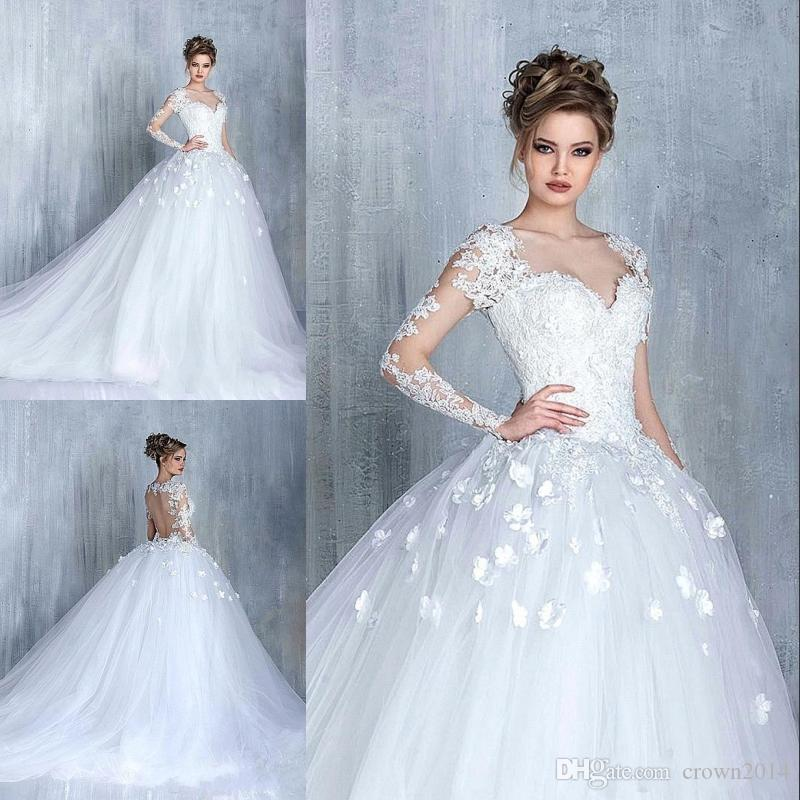 2017 Vintage Ball Gown Long Sleeves Wedding Dresses Sweetheart Lace