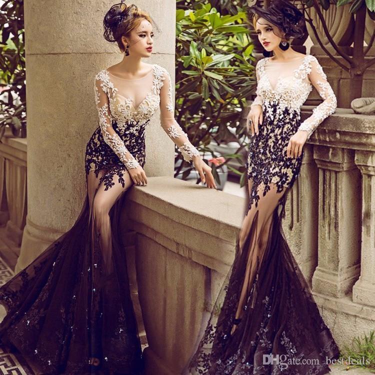 Vestidos 섹시한 깎아 지른 인어 인어 이브닝 드레스 긴 흑인과 백인 정장 가운 댄스 파티 드레스 2017 아랍어 두바이