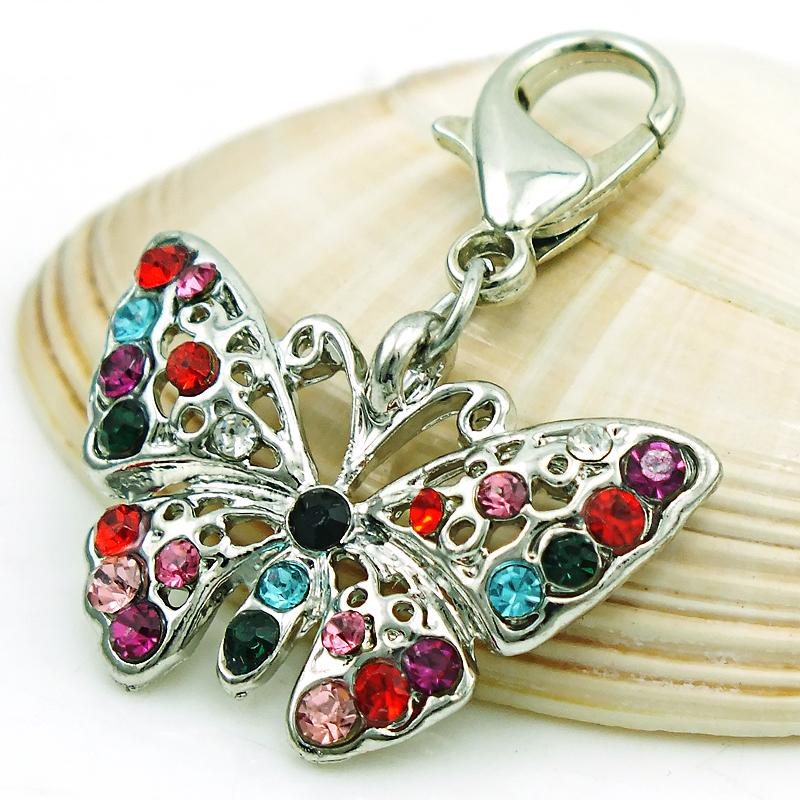 Brand New Fashion Charms con chiusura a forma di aragosta strass trafitto farfalla animale pendenti gioielli fai da te accessori la fabbricazione