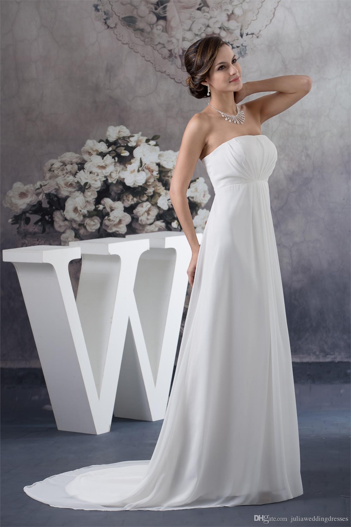 2017 mais novo elegante strapless chiffon vestidos de casamento a linha apliques frisada plus size festa de casamento vestidos de noiva bm46