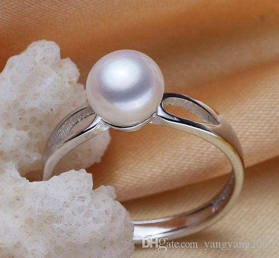 Wholesale 8-9mm white pink purple three colors oblate Natural pearl ring 925 silver JZ0001