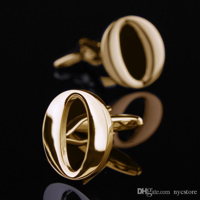 26 letras en inglés A-Z Gemelos Gemelos para hombre de color oro Camisa francesa Hombres Joyería Gemelos Nombre Inicial Botones de puño
