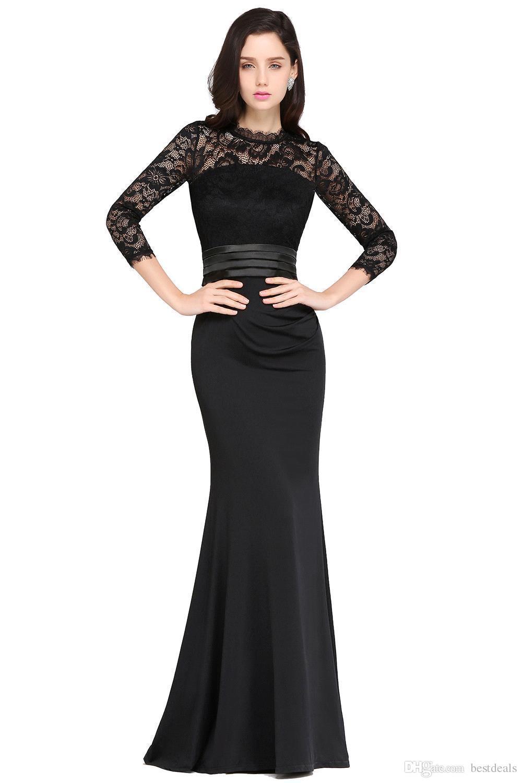 Designer Mermaid Long Sleeves Burgundy Evening Dresses 2019 Satin Lace Jewel Neck Zipper Back Floor Length Formal Gowns