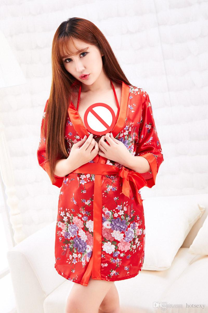 NEW COSPLAY Red Printing Japanese Kimono Sexy Lingerie Women ...