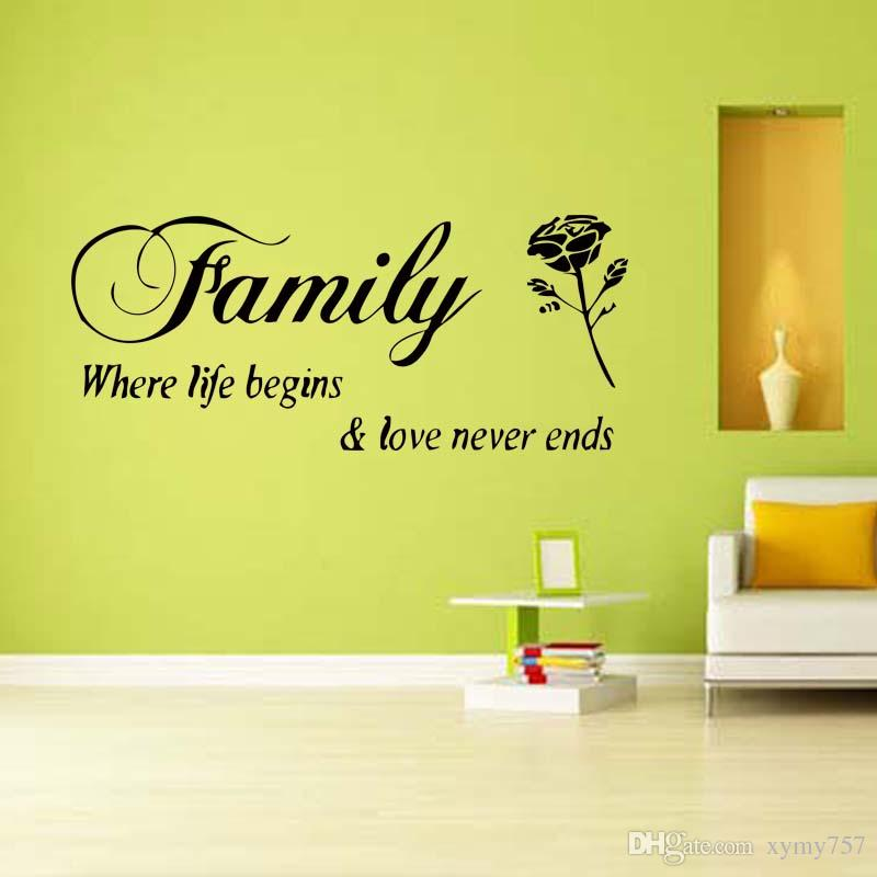 Family Rose Flower Wall Quote Decals Removable Vinyl Sticker Decor Bedroom Sitting Room Art Room Mural Diy