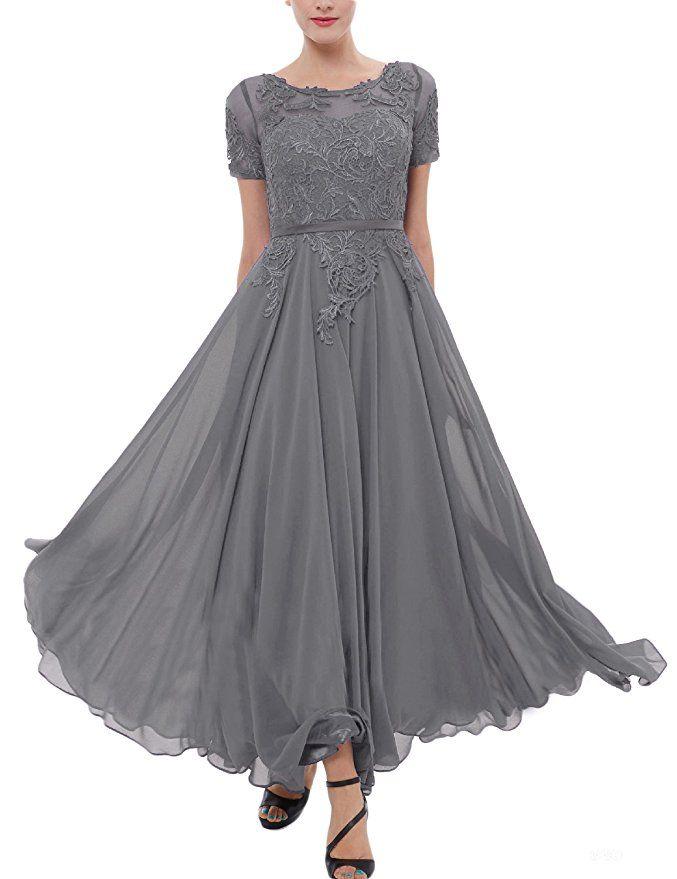 2017 playa gris de la madre de los vestidos de novia joya de manga corta apliques de té longitud verde oscuro Pueple madre vestido de noche vestidos de fiesta