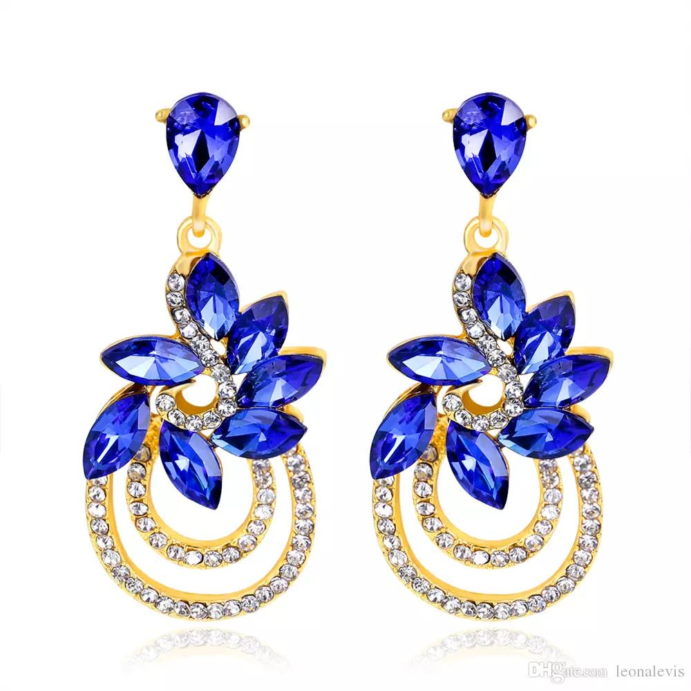 83bb4c52f77356 2019 2 Inch Gorgeous New Drop 18K Gold Big Crystal Royal Blue Earrings  Statement Indian Boho Style From Fashionest, $4.03 | DHgate.Com