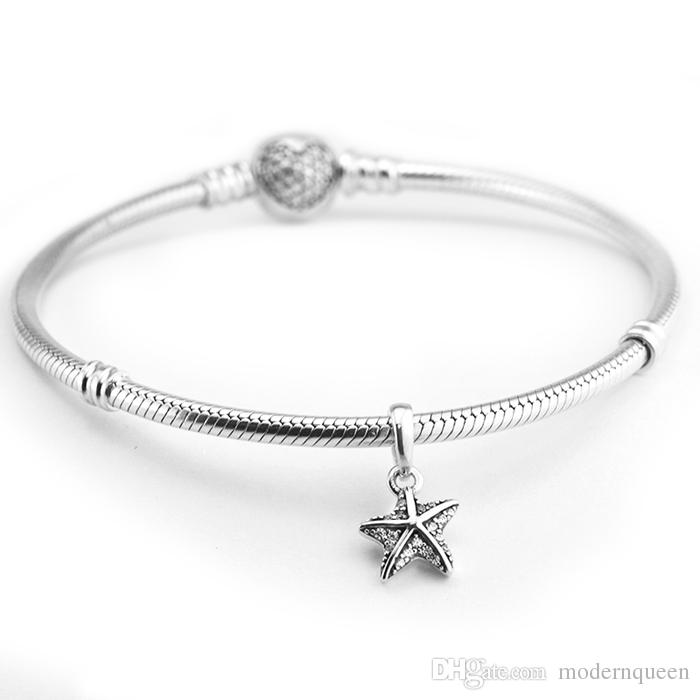 Tropical Starfish Pendant charms beads real S925 silver fits for pandora style bracelet H8 390403CZ
