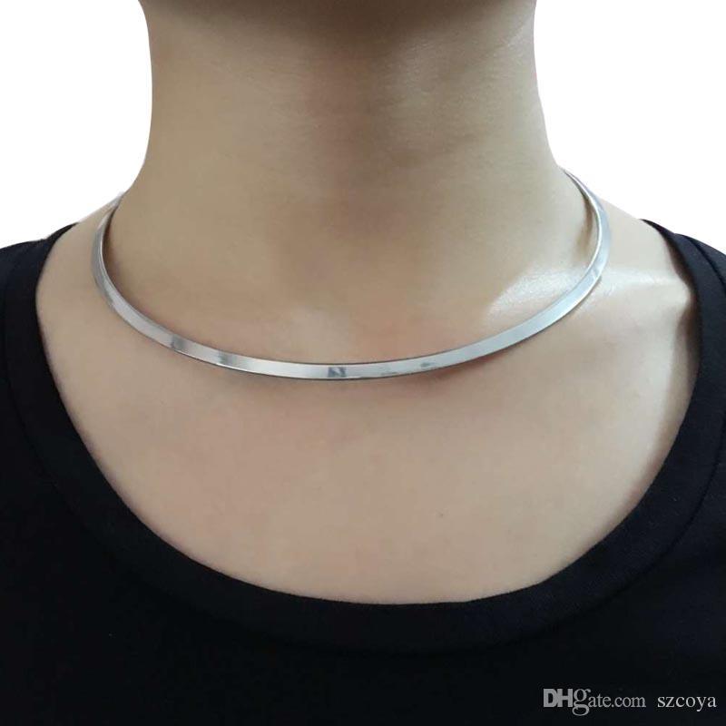 Kadınlar için avrupa tarzı basit yuvarlak daire Tork bayanlar bayanlar metal gümüş tel kolye yaka gerdanlık bildirimi paslanmaz çelik