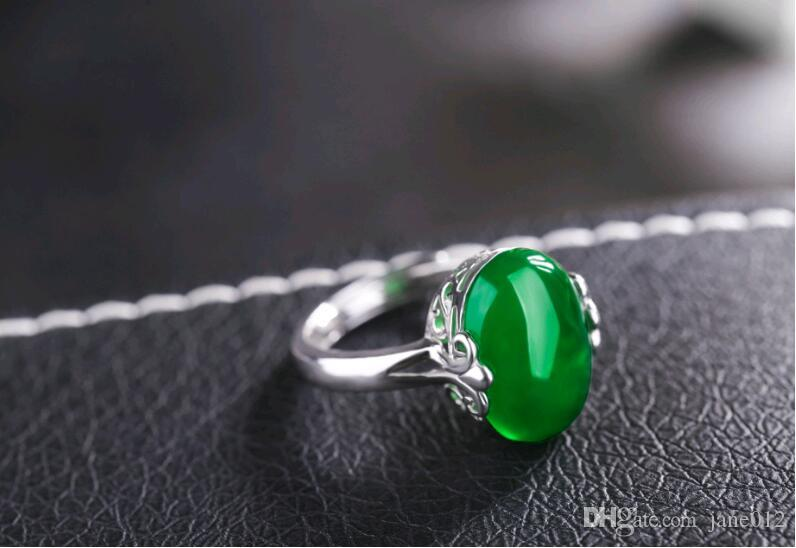 Wholesale Natural Gemstone Jewelry Retro Rings Adjustable Jade Stone Silver Solitaire Ring Design for Women Engagement Gift