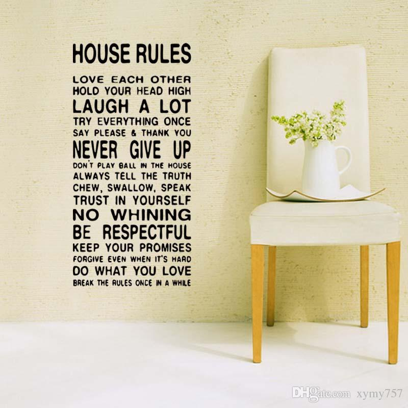 New Style For House Family Home Rules Quote Wall Funny Stickers Art Dining  Room Removable Vinyl Decals Sitting Room Diy