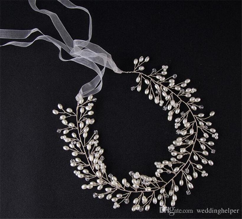 Vintage Wedding Bridal Headband Ribbon Pearl Crystal Rhinestone Headpiece Hair Accessories Band Silver Princess Headdress Jewelry Party Prom