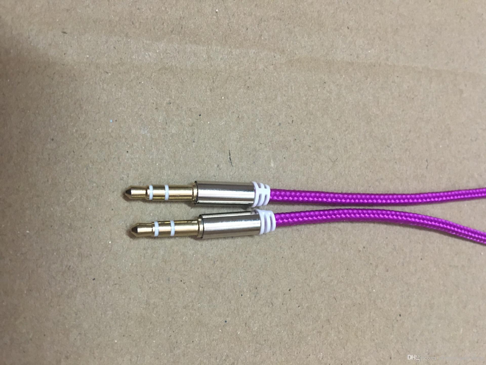 10 Färg Aluminiummetalladapter Nylon flätad vävduk 3.5mm Stereo Audio Aux Cable 1m 3FT /