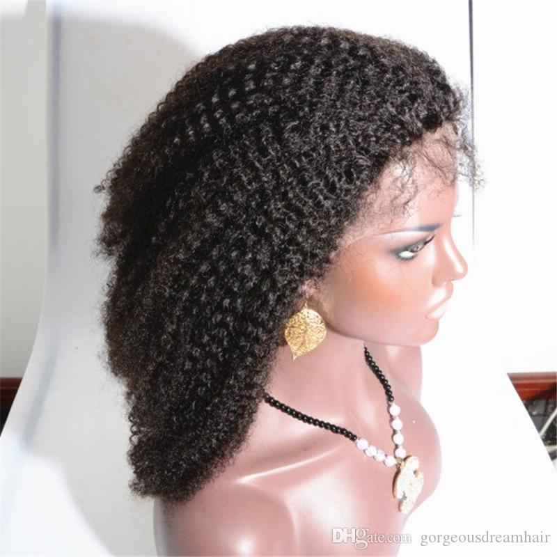 Malaysian Brazilian Mongolian human hair Tiny Afro Kinky Curly Wigs Human Hair Full Lace/ Front Wig For Black Women in stock