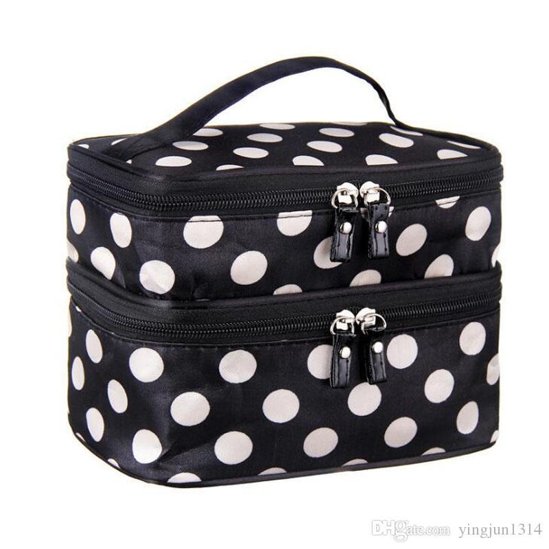New Large Capacity Cosmetic Bag Korean Makeup Bag Dot Women Handbag ... 223f809c799a3