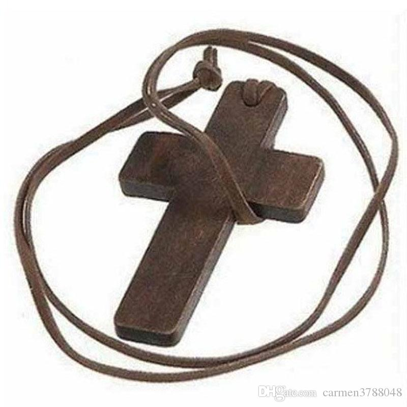 Wood Pendant Necklaces Simple Wooden Cross And Leather Rope Necklace Sweater Chain Euramerican Style Retro Jewelry