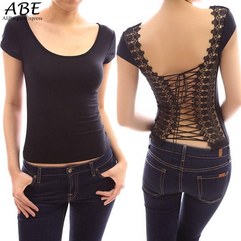 73582daaeef Wholesale- 2016 Sexy back Shirt Women Hot O-Neck Solid Vest Top Cut Out Bra  Women Bustier Corset Shirt Women Plus Size  09