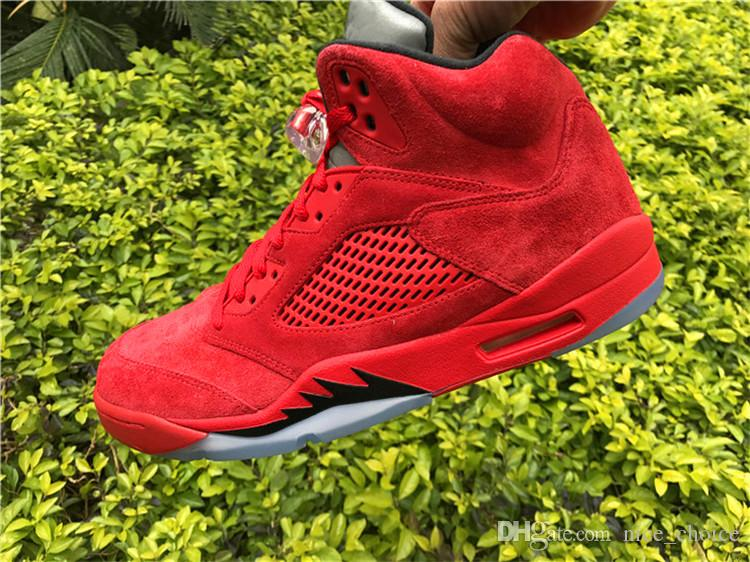 new product 804df 7f385 2017 Air Retro 5 V Raging Bull Red Suede Metal Basketball Shoes Retro 5s  Varsity Red Black Mens Sneakers Shoes With Original Box