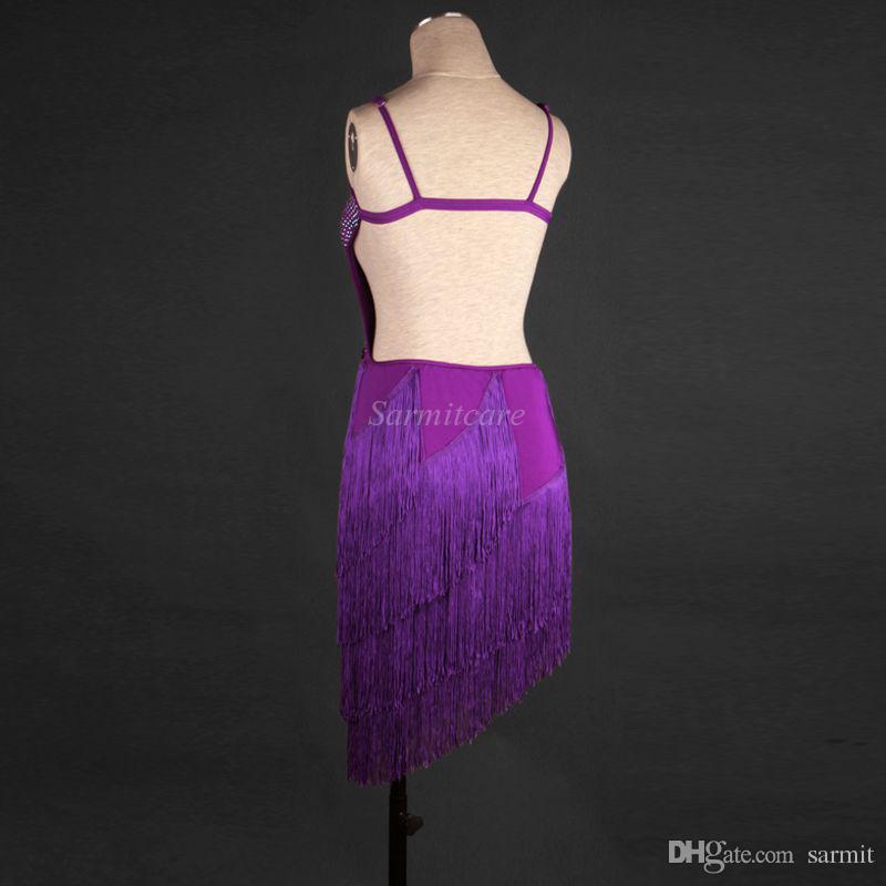 Latin Salsa Dance Dress Women Girls Customize Tango Dress Latin Dance Costumes D264 with Rhinestones Tassels