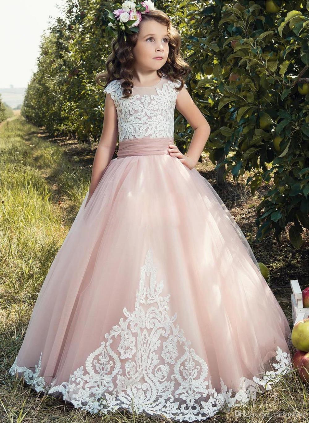 2019 ragazza abiti fiore matrimoni tulle rosa di Applique del manicotto della protezione dei bambini di sfera arco prima comunione vestito da spettacolo Abiti