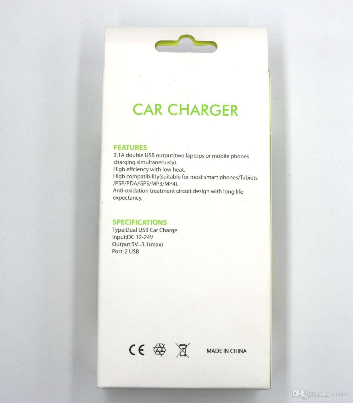 4 en 1 cargador de coche 2 puertos USB 2 puertos de carga de coche 3.1A Salida de coche USB de doble carga rápida