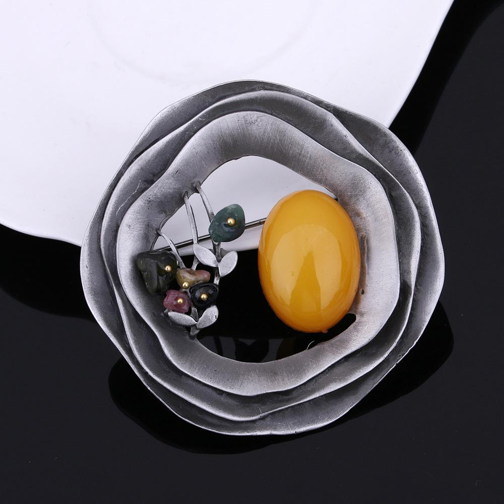 Brooches For Women Gift 2017 Multicolor Round Flower Nature Stone Pins Brooches Fashion Exquisite Hollow Geometric Brooch Pins