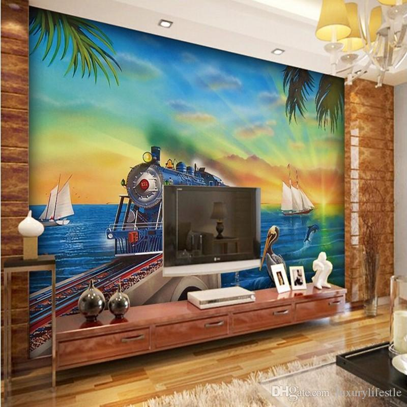 3d Stereo Custom Living Room Sofa Tv Background Wall Thomas Train Scenery Ktv Bar Hotel Music Hall Wallpaper Mural Wide Desktop