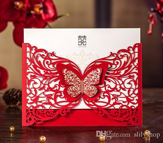 Sample Red Laser Cut Luxury Flora Wedding Invitations Card Elegant ...