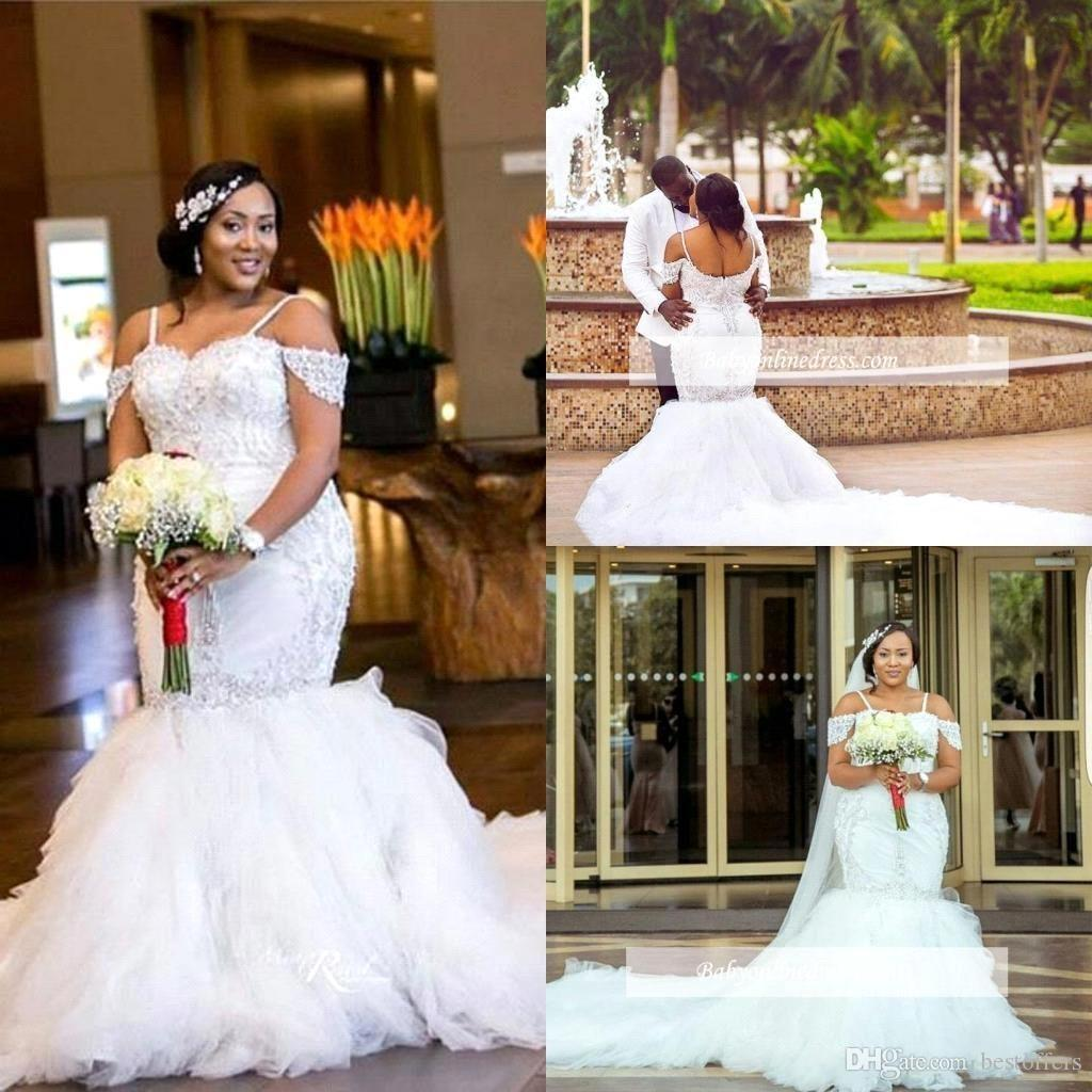 Nigerian Wedding Gowns: Plus Size Mermaid Wedding Dresses 2018 New Spaghetti Court