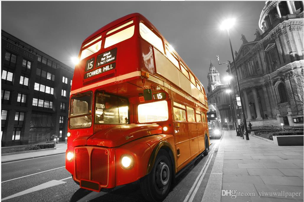 Luxury European Modern London double bus street night view fashion decor home decoration for bedroom