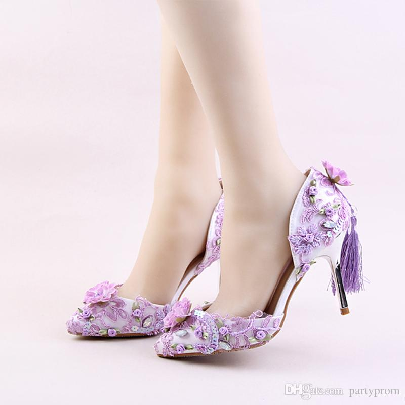 963aaca110954 Three Kinds Of Color Purple Red Pink Beautiful Flower Wedding Shoes  Delicate Paillette High Heels Tassel Decoration Party Prom Else Wedding  Shoes Flat Peep ...