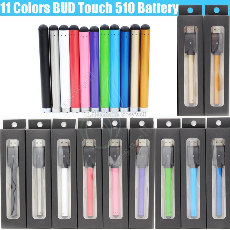 Top Colorful Bud Touch Batería 510 O Pen 280 mah CE3 Cartuchos vape Depósito de aceite con mini cargador USB Blister Embalaje e cigarrillo vapor DHL