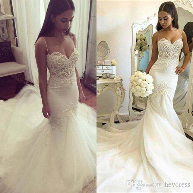 b8e25d543f59 Open Back Mermaid Wedding Gowns 2017 Elegant Spaghetti Straps Appliqued  Tulle Trumpet Bridal Dress Vestido Noiva ...