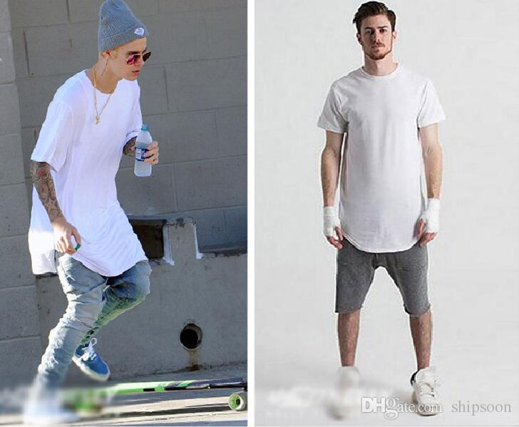 Wholesale-Comfortable soft t shirts cool men's oversized extended t shirt side split t shirt casual swag hip hop tee shirtS- XXXL