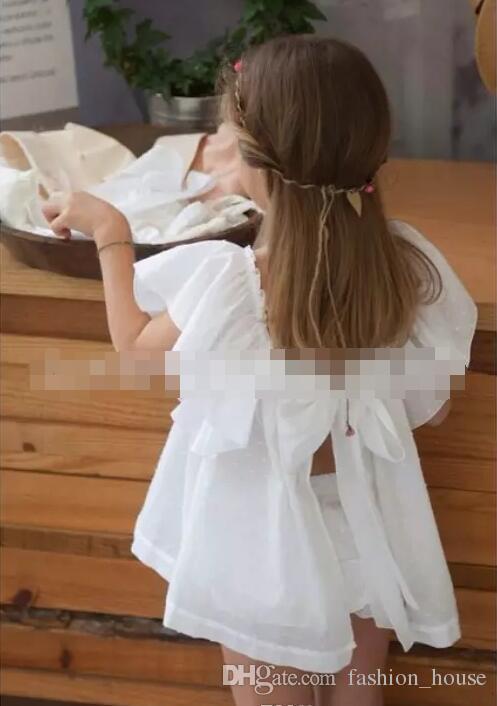 INS bebé niña niños pequeños conjuntos de trajes de verano vestido de encaje manga de la mosca gran arco + pantalones cortos bloomers pantalones pañal crochet embroidey A 080