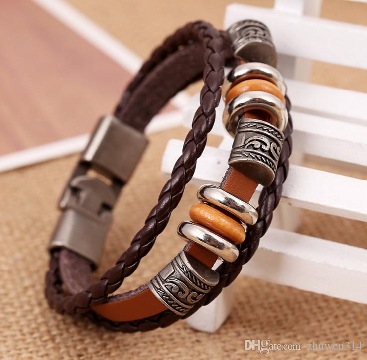 Vintage Star Anchor Skull Bead Bracelet Woven Punk Leather Bracelet For Men Jewelry Hip-hop Multilayer Braid Wrap Bangle